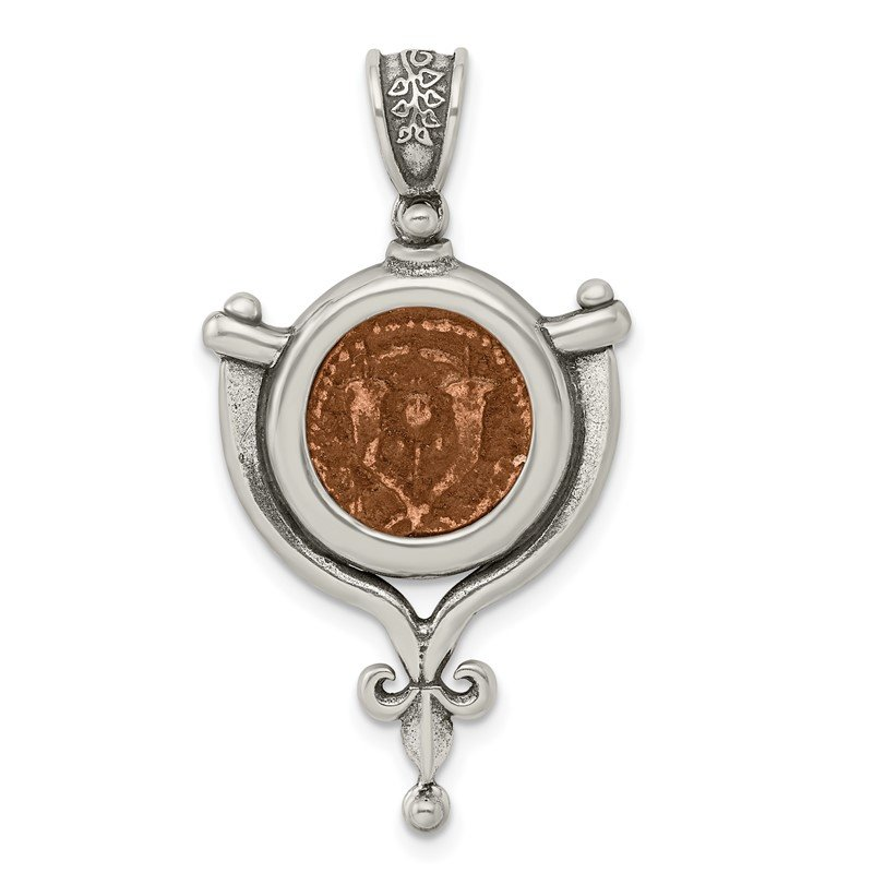 Quality Gold Sterling Silver & Bronze Antiqued Yehohanan Coin Pendant