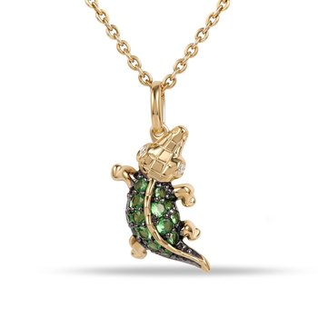 "Beautiful Green Garnet Alligator Pendant 0.26C & Diamond eyes 0.02C 1/2"" long by 1/4"" wide"