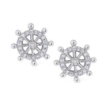 14k Gold and Diamond Ships Wheel Earrings