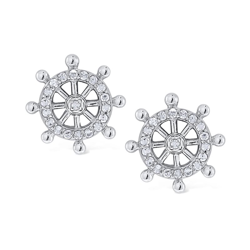 KC Designs 14k Gold and Diamond Ships Wheel Earrings