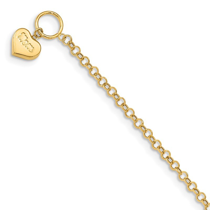 Quality Gold 14k Puffed Mom Heart Toggle Bracelet
