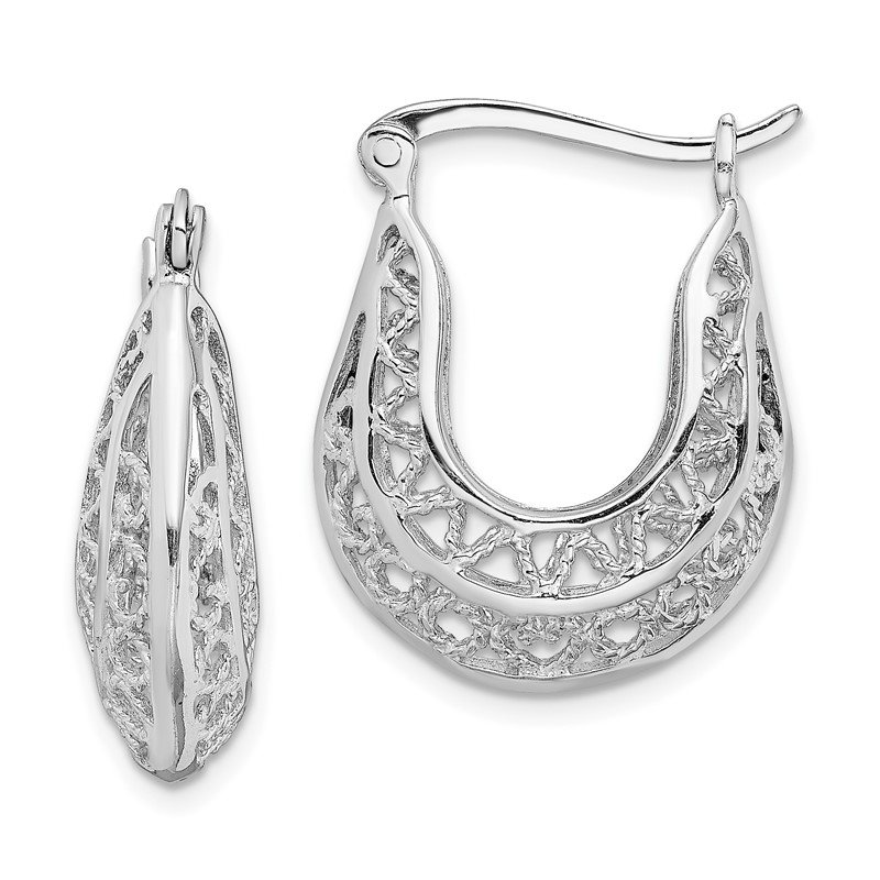 Quality Gold Sterling Silver Rhodium-plated Polished Filigree Hoop Earrings