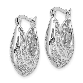 Sterling Silver Rhodium-plated Polished Filigree Hoop Earrings