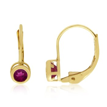 14k Yellow Gold 4mm Ruby Bezel Leverback Earrings