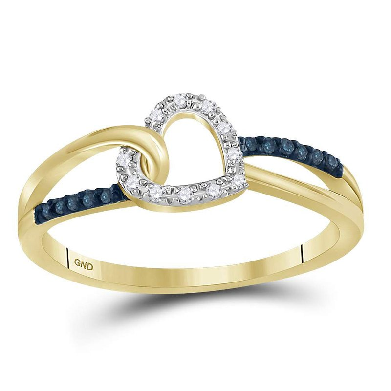 Kingdom Treasures 10kt Yellow Gold Womens Round Blue Color Enhanced Diamond Captured Heart Ring 1/10 Cttw