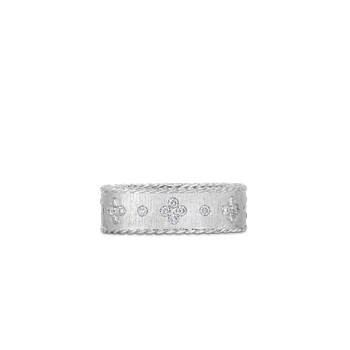 #2367 Of Satin Finish Ring With Fleur De Lis Diamonds