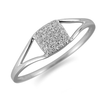 14K WG Diamond Square Cluster Delite Collection Promise Ring