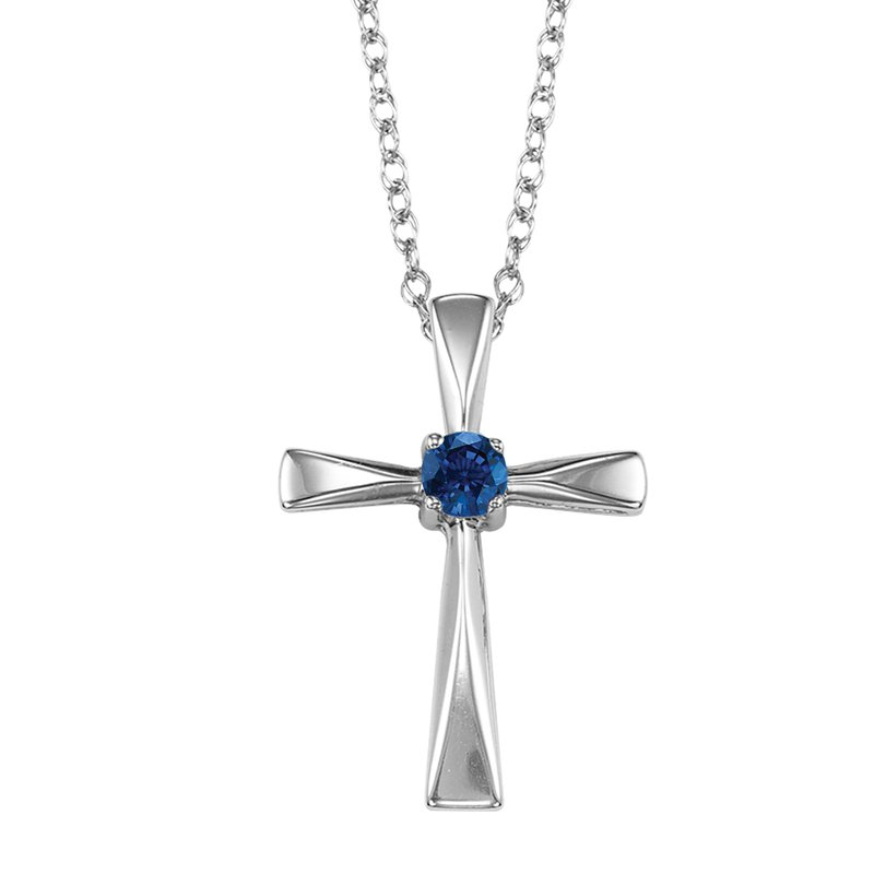 Mixables Silver Sapphire Cross Pendant