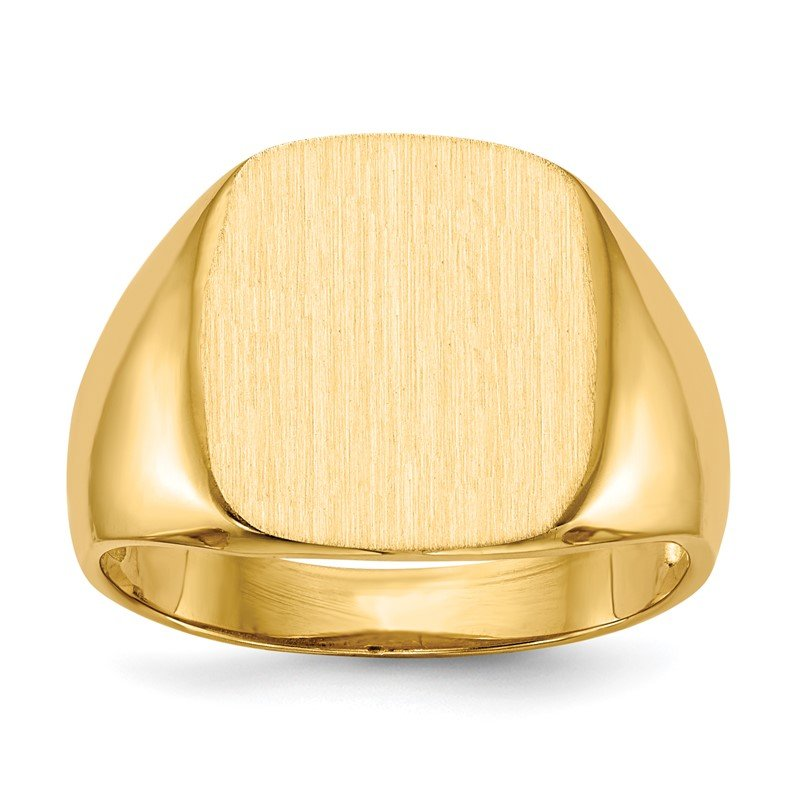Quality Gold 14k 14.0x13.5mm Open Back Mens Signet Ring