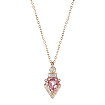 Morganite Shield Necklace