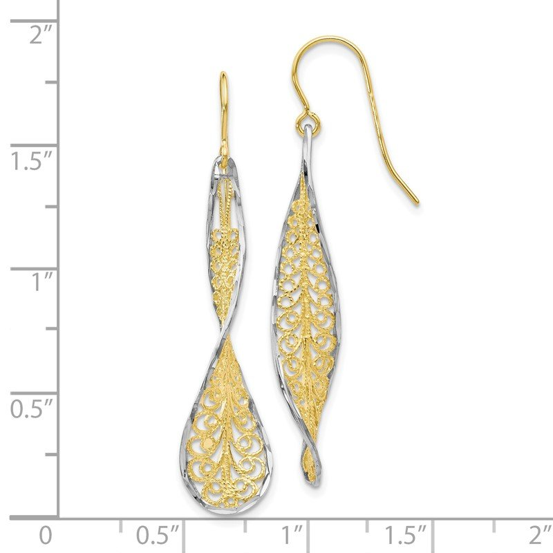 Leslie's Leslie's 10K Two-tone D/C Dangle Shepherd Hook Earrings