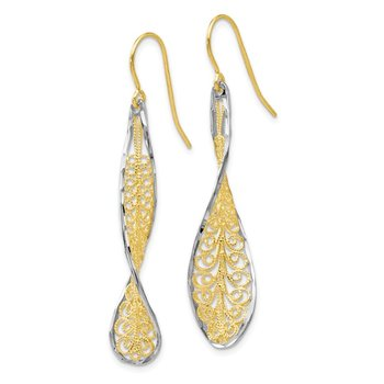 Leslie's 10K Two-tone D/C Dangle Shepherd Hook Earrings