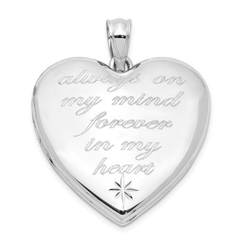 Sterling Silver Rhodium-plate Always On My Mind Ash Holder Heart Locket