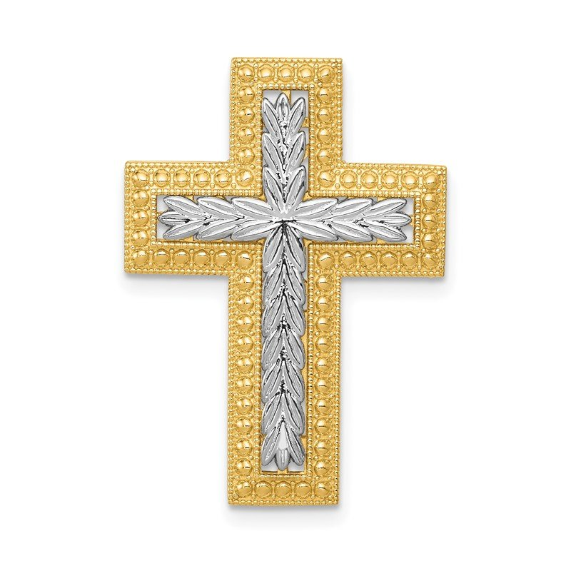 Quality Gold 14k Rhodium Polished Squared Cross Chain Slide Pendant