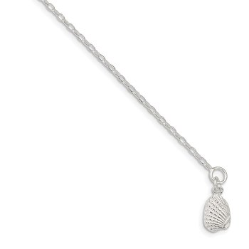 Sterling Silver 10inch Solid Polished 3-D Shell Anklet