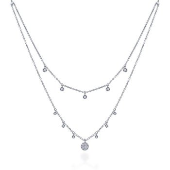 14k White Gold Layered Diamond Charm Fashion Necklace
