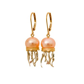 Two Tone Gold Jellyfish Earrings