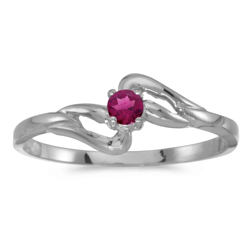 Color Merchants 10k White Gold Round Rhodolite Garnet Ring
