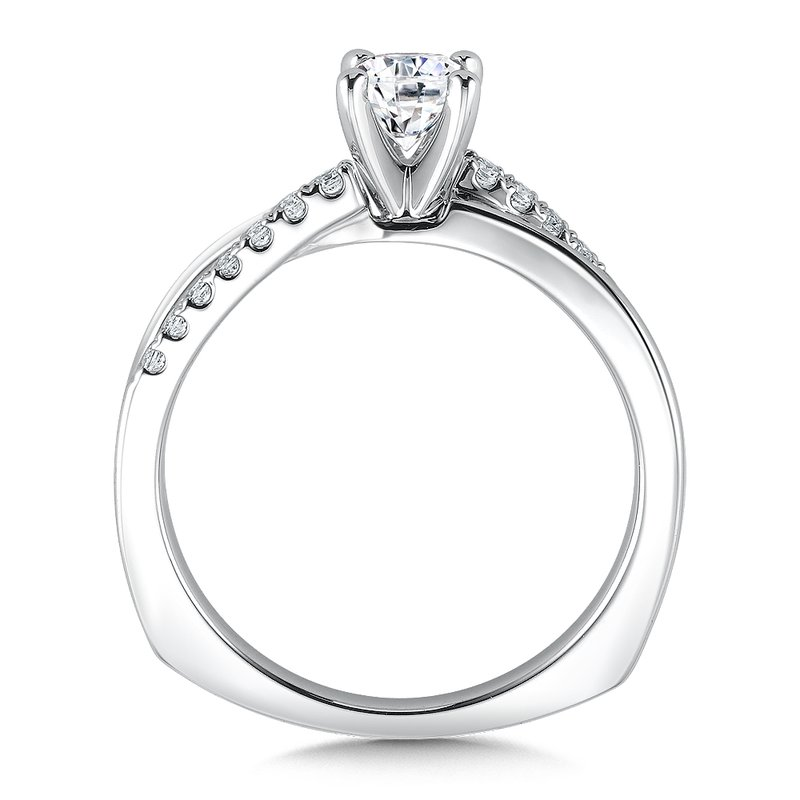Valina Bridals Mounting with side stones .12 ct. tw., 1/2 ct. round center.