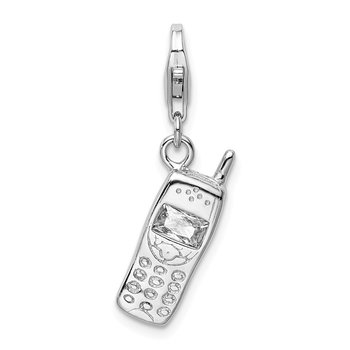 Sterling Silver RH Polished Cell Phone w/ CZ Lobster Clasp Charm