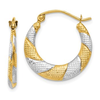 14K & Rhodium Textured Hollow Scalloped Hoop Earrings