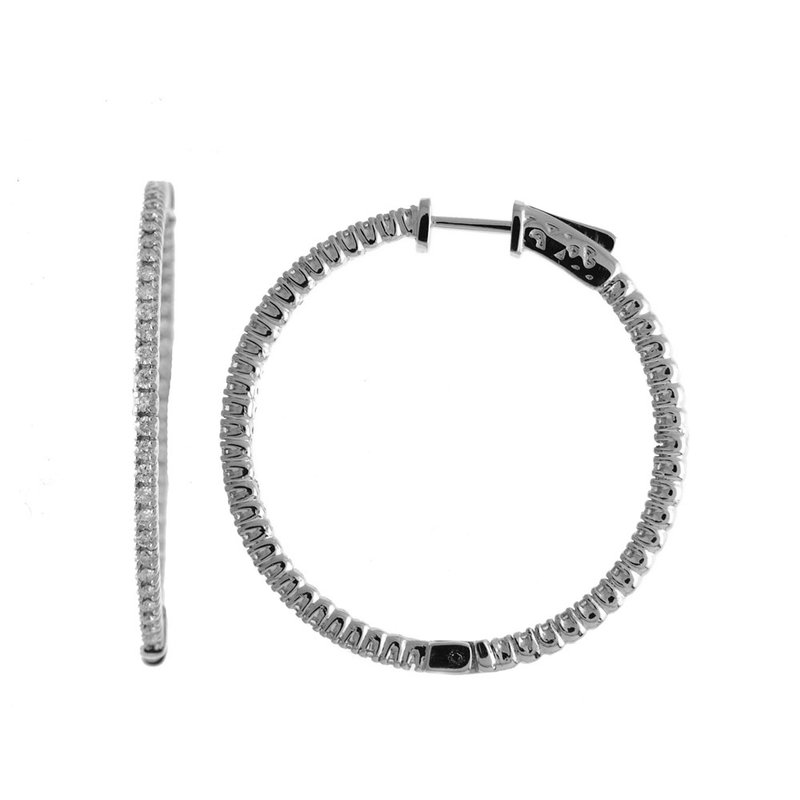 14K 1ct White Gold Diamond Secure Lock 35 mm Hoop Earrings