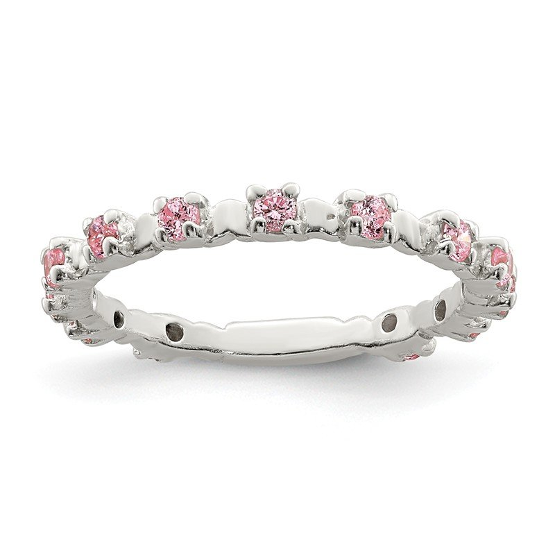 Quality Gold Sterling Silver Pink and White CZ Kid's Ring