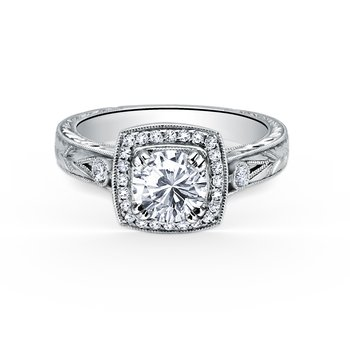 Kirk Kara 18K White Gold Diamond Halo Engraved Engagement Ring