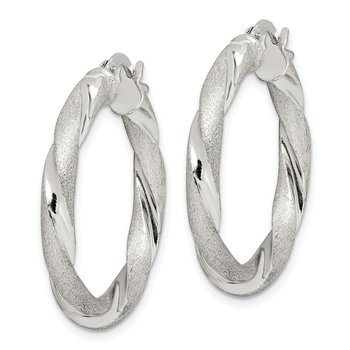 Sterling Silver Satin and Polished Twisted 4mm Hoop Earrings