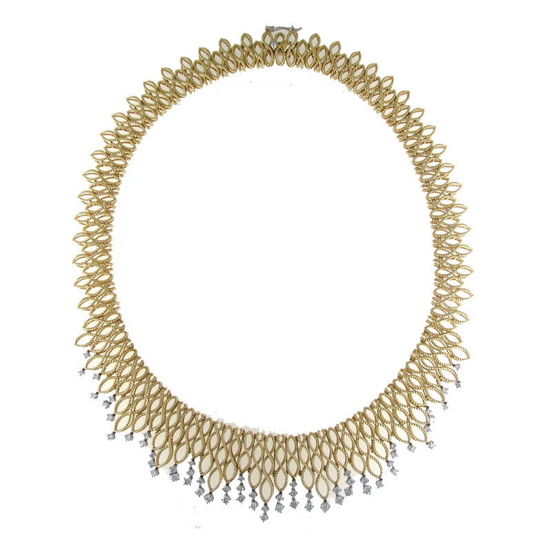 Roberto Coin 18Kt Gold Bib Necklace With Diamonds