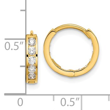 14k Madi K Round/Square CZ Reversible Hinged Hoop Earrings