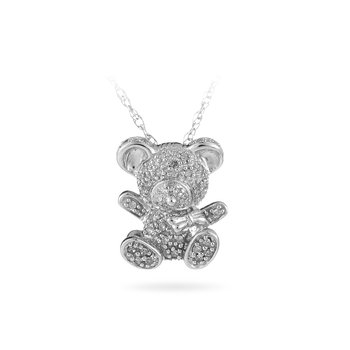 925 Sterling Silver and Diamond Teddy Bear Pendant