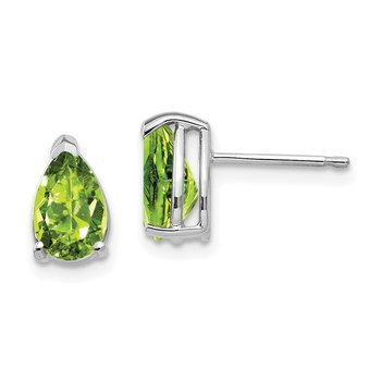 14k White Gold 8x5mm Pear Peridot Earrings
