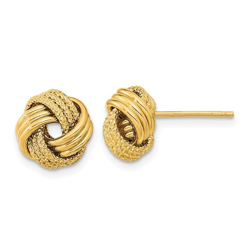 Quality Gold 14k Polished Textured Love Knot Post Earrings