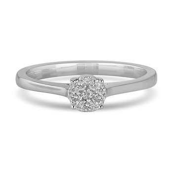 14K WG and diamond Round composite head and plain shank ring in pressure setting