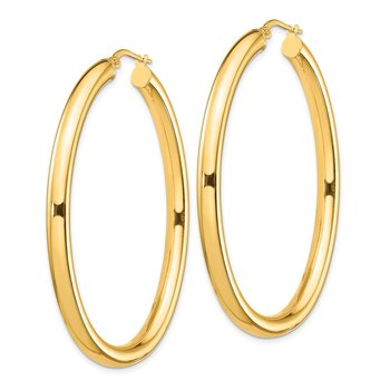 14K Large 4mm Thick Oval Hoop Earrings