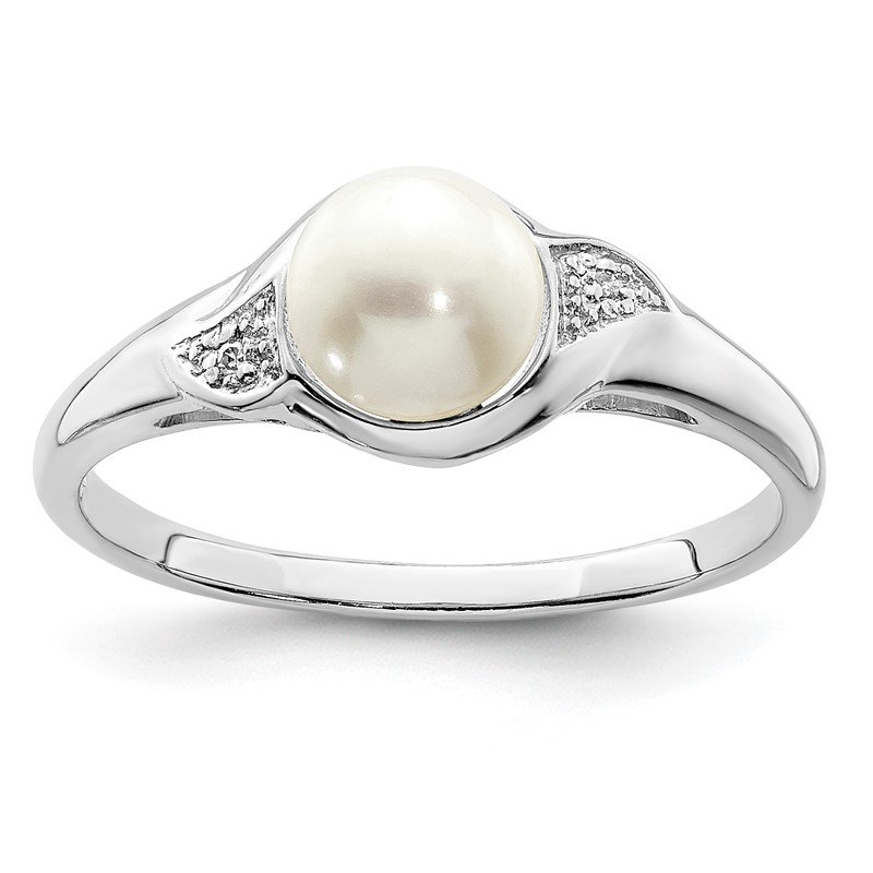 Quality Gold Sterling Silver Rhodium Plated Diamond and FW Cultured Pearl Ring