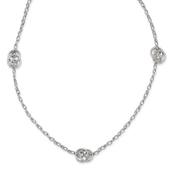 Sterling Silver Rhodium-plated Oval Link Necklace