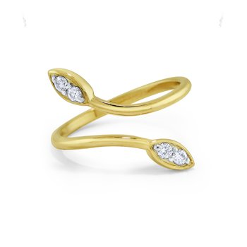 14K Diamond Twist Leaf Ring