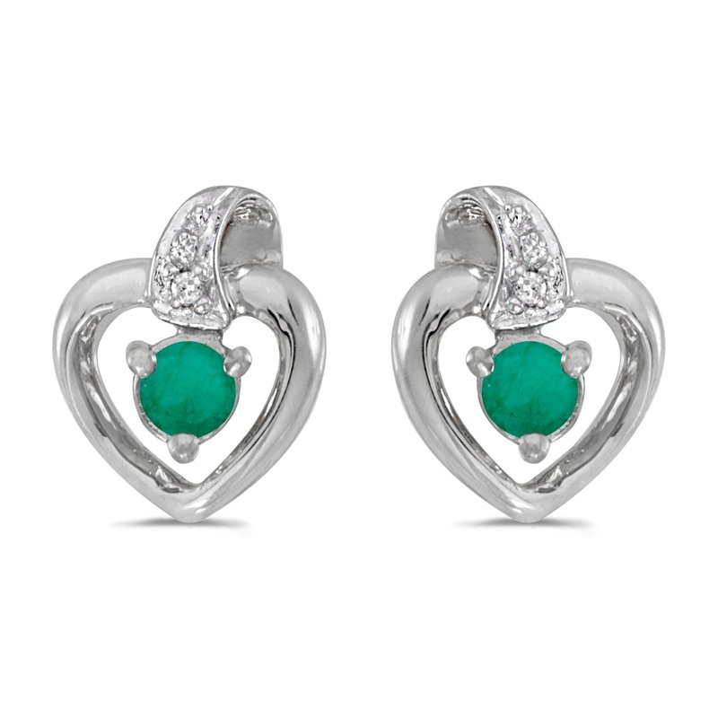 14k White Gold Round Emerald And Diamond Heart Earrings