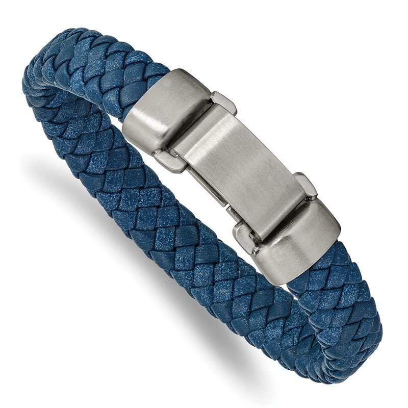 Chisel Stainless Steel Brushed Blue Leather 8.25in Bracelet