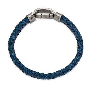 Stainless Steel Brushed Blue Leather 8.25in Bracelet