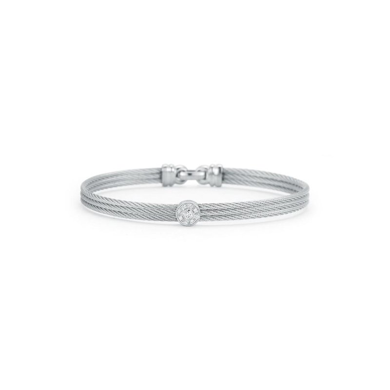 ALOR Grey Cable Classic Stackable Bracelet with Single Round Station set in 18kt White Gold