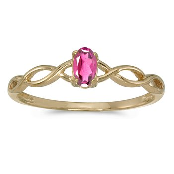 14k Yellow Gold Oval Pink Topaz Ring
