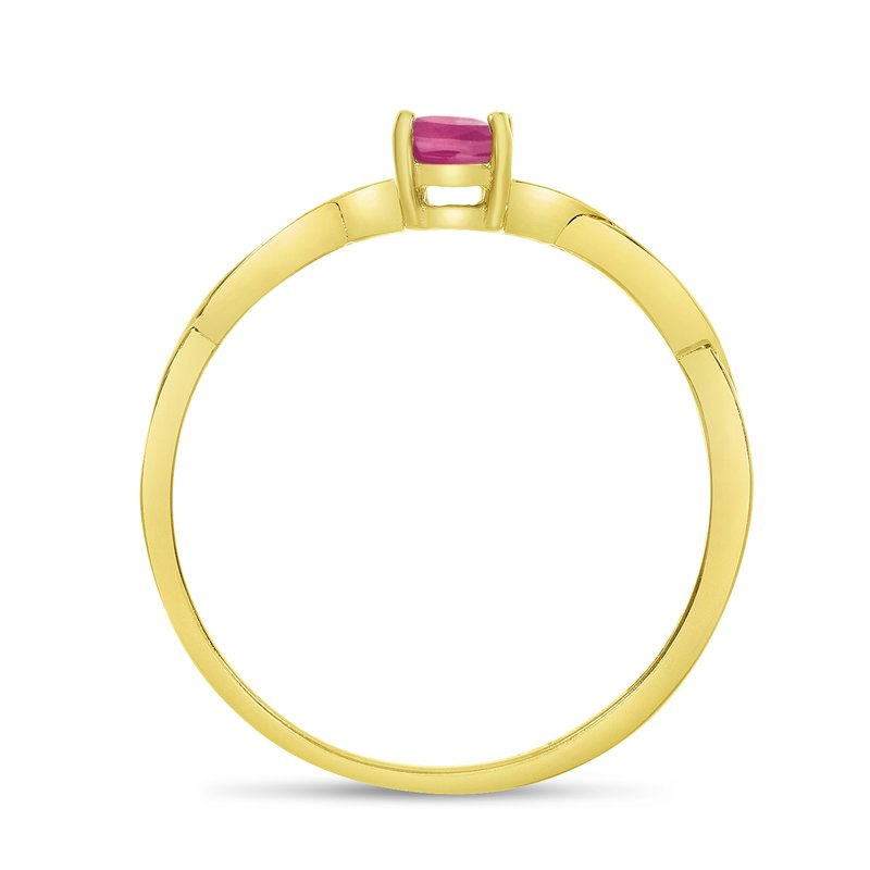 Color Merchants 14k Yellow Gold Oval Pink Topaz Ring