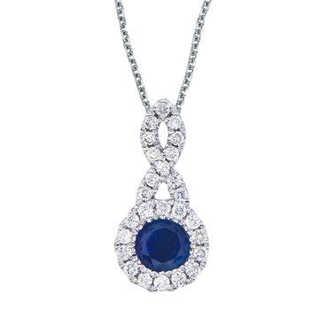 14k White Gold 4 mm Sapphire and .14 ct Diamond Swirl Pendant