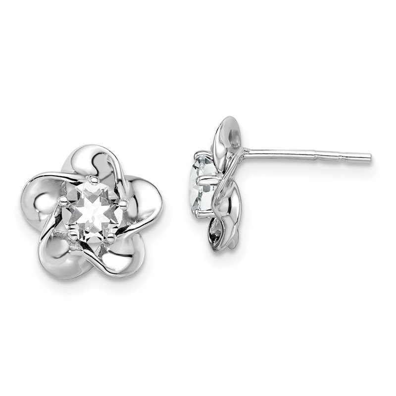Sterling Silver Rhodium-plated Floral White Topaz Post Earrings