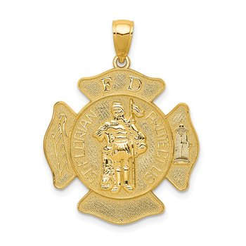 14k Large FD St. Florian Badge Pendant