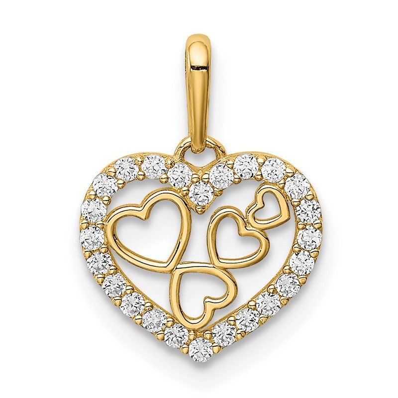 Quality Gold 14K Hearts CZ Pendant