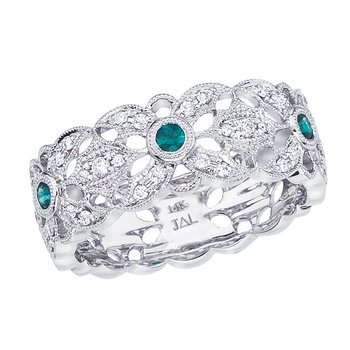 14k White Gold Emerald and Diamond Filigree Ring
